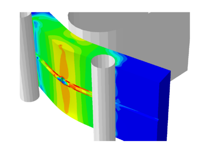 Damage mechanics simulation of a welded plate for characterizing the toughness in civil engineering.