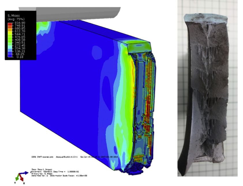 Simulation and fracture surface of a BDWTT sample